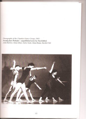 John Harries, Ilana Inbar, Dalia Yaski, Ilana Banai, and Racheli Nul of the Chamber Dance Group in Noa Eshkol's Twenty-four Preludes (an unpublished score).  Photograph taken in 1965.  Published in EWMN: Part I by Noa Eshkol with John Harries (Tel Aviv: The Movement Notation Society: 2001.  Courtesy of Michal Shoshani).